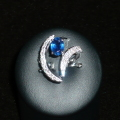 Blue-anello con zaffiro e brillanti