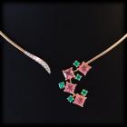 Collier oro rosa con tormaline princess,smeraldi e brillanti