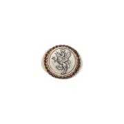 Les chevalier-Anello argento con diamant neri e moneta